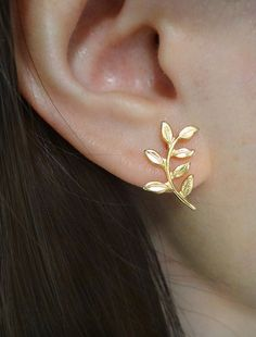 olive branch earrings . leaf stud earrings . by trystjewellery