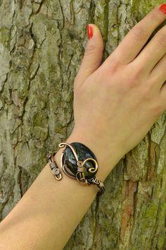 Black Onyx Wire wrapped bracelet copper wire by CopperingJewelry, $43.00