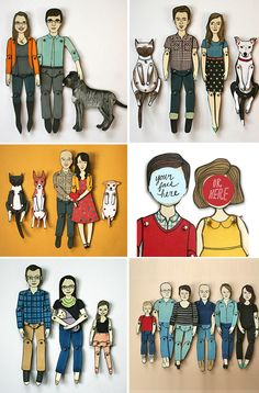 """Paper Dolls - Customized 6"""" moveable paper dolls by artist Jordan Grace Owens.She designs and sells this on etsy. Great idea to get a set done of the family!"""