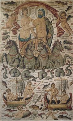 """Triumph of Neptune and Amphitrite"" - Mosaic from ancient Cirta in Algeria, circa  300-350 AD"