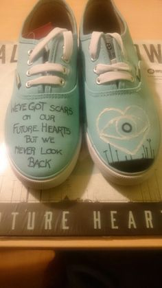 Made'em myself and so proud about it all time low future hearts handmade drawing shoes