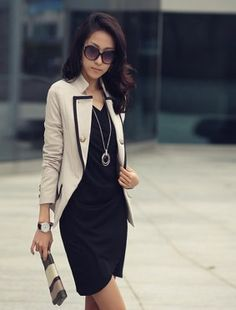 Modern Fashion Handsome Lapel Ladies Jackets Apricot  #MyEquipmentStyle