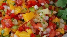 Mango, Peach and Pineapple Salsa. This fruity and spicy salsa is yummy on just about everything from chips to barbequed chicken, tacos, and even tofu! Salsa Recipe Allrecipes, Relish Recipes, Appetizer Recipes, Appetizers, Spicy Salsa, Fruit Salsa, World's Best Food, Good Food, Asian Recipes