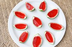Watermelon jello shots made using a lime