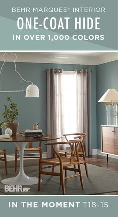 There's a reason that In The Moment is the BEHR 2018 Color of the Year—it fits so well with a variety of interior design styles! BEHR MARQUEE® Interior Paint was designed to cover in one-coat when you choose a color from our One-Coat Color Palette to paint over a previously painted surface. Click here to learn more about BEHR Marquee Interior Paint.