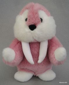 #Gund #Walrus Pink White Plush 10 inches with Velour Tusks Seam Tag Seal Sealion