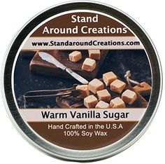 Premium 100 All Natural Soy Wax Aromatherapy Candle  8oz Tin Warm Vanilla Sugar Warm Vanilla Sugar has become a classic With flowery herbal top notes coconut and vanilla middle notes and a musky sandalwood base