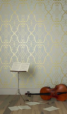 Nina Campbell Lombardia Stradivari White and Gold - Wallpaper Her Wallpaper, Eclectic Wallpaper, Metallic Wallpaper, Luxury Wallpaper, Fabric Wallpaper, Pattern Wallpaper, Beautiful Wallpaper, Bedroom Wallpaper, Chevron Wallpaper