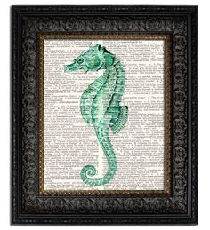 SEAHORSE I - vintage book page art print on recycled vintage dictionary page. $10.00, via Etsy.