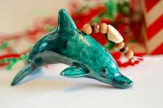 Raku Ceramic Dolphin Beaded Christmas Ornament /Garden Ornament FREE SHIPPING!!! beach xmas gift, ocean raku, dolfin, dolphin gift, cool by OceanRakuPottery on Etsy