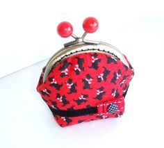 #Classy #Scottie Purse, Vintage Style Red Purse. So #cute! This classy change purse is really a delight to the eyes, one of a kind, with tiny scottis...