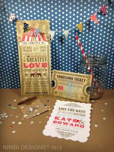 Vintage Circus Themed Wedding Party Invitations and by NimbiDesign, $6.50