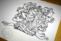Heraldic Shield Tattoo Design - Dark Design Graphics | Graphic Design Newcastle #tattoo #tattooart #coatofarms #heraldry #shieldtattoo #wolf #falcon
