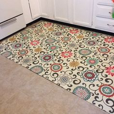 It's fabric, spray adhesive, a rubber rug backer. I folded over and hot glued the edges. I then applied two good coats of water-based satin poly. The result is a water-proof/ spill-proof kitchen accent rug that keeps my tile floor protected.