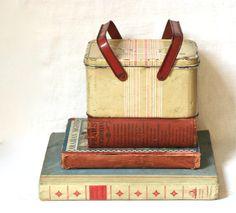 Vintage Tin Picnic Basket Lunch Box