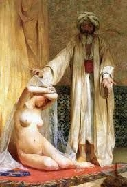 Muhammad and sex slavery, La perla del mercader (The Merchant's Pearl) by Chilean painter Alfredo Valenzuela Puelma. Muslim slave markets were the subject of numerous paintings by classical artists. Kunsthistorisches Museum, Illustration, Museum Of Fine Arts, North Africa, Oeuvre D'art, Erotic Art, Female Art, Art History, Art Gallery