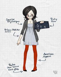 red tights, gray dress, darker gray charcoal cardigan