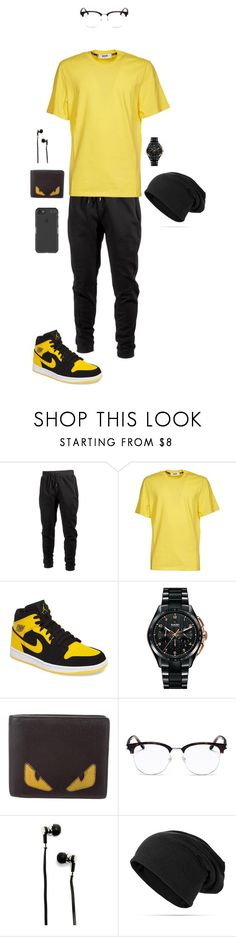 """black and yellow"" by dance4ever1222 ❤ liked on Polyvore featuring Ideology, MSGM, NIKE, Rado, Fendi, Yves Saint Laurent, Master & Dynamic, Under Armour, men's fashion and menswear"