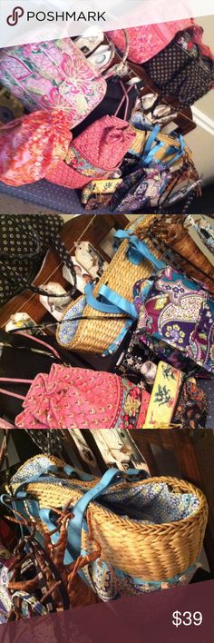 Vera Bradley Lot 12 pcs Closet clean out!! Wicker bag a backpack phone case ditty bag cross body bag id keychain cosmetic bag handbags    All used. Some perfect some not.  A great value!!! Vera Bradley Bags Crossbody Bags