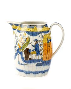 RARE ENGLISH PEARLWARE MARRIAGE JUG FOR JOHN & LETTIS BANCROFFT, DATED 1805.