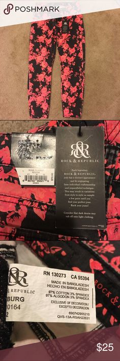 Rock & Republic Rose Fluorescent Print Ankle Jeans Wonderful ankle-length Rock & Republic print jeans! Black with a fluorescent pink rose contrast. Size: 26. Rock & Republic Jeans Ankle & Cropped