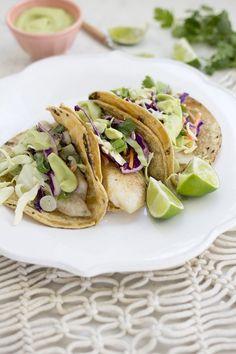 Fish Tacos with Coconut Avocado Crema