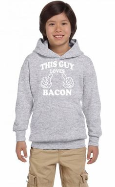 this guy loves bacon white Youth Hoodie