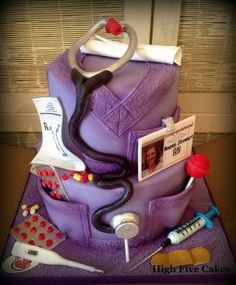 Grad cake  Love this one because its PURPLE!!!!!!!!