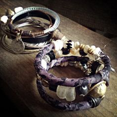Rustic boho bangle set with raw quartz turkoman button by quisnam, $55.00