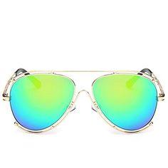 YH Modern Streen Shopping Design Eyewear Unisex Fashion Mens  Womens Metal SunglassesGreen * See this great product.