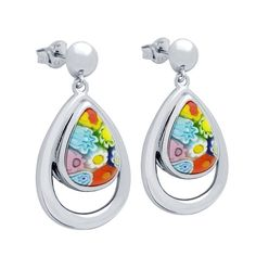 Multicolor Millefiori Tear Drop .925 Sterling Silver Double Bezel Earrings ***Free Shipping To Continental U.S.A.*** 100% Secure Credit Card Checkout We guarantee that all products received from this