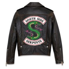 Leather Biker Serpent Jacket (I MADE THIS ❤ liked on Polyvore featuring outerwear, jackets, tops, riverdale, real leather jackets, 100 leather jacket, genuine leather biker jacket, biker jackets and genuine leather jackets