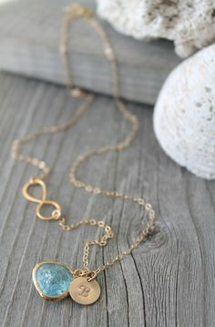 14k gold filled infinity Initial Necklace Cracked by potionumber9