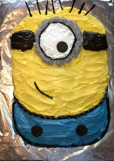 Minion birthday cake I made for my daughter