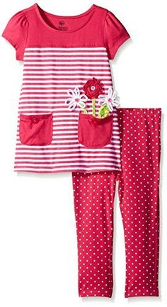 Kids Headquarters  Girls Pink SolidStripes Jersey Tunic and Printed Capri Pink 12 Months ** Read more  at the image link.Note:It is affiliate link to Amazon.