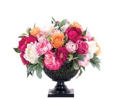 Rose Peony Tulip, Orn Fuc, Lattice Urn, 18wx18dx18h KF046