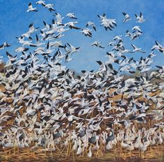 """Contemporary Artists of Colorado: Original Wildlife Geese Painting, """"Up"""" by Colorado Artist Nancee Jean Busse, Painter of the American West"""