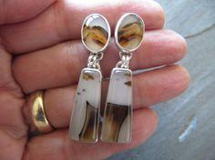 Fabulous Montana Agate Earrings in Sterling by MoonSilverStudio