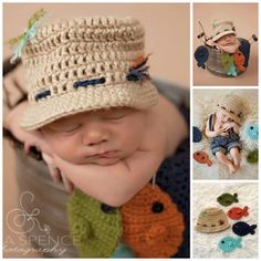 """""""Crochet Fisherman Baby Outfit."""" Sooo cute.  I think I'll make this for my nephew's baby who is due in June, seeing my nephew loves his fishing so much.  I know he'll absolutely love it!!"""