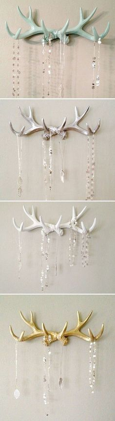 Antlers! In Mint, Silver, White, and Gold.