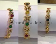 Jewellery Designs: Diamonds and Navaratan Stones Bangles Indian Jewellery Design, Indian Jewelry, Jewellery Designs, Necklace Designs, Plain Gold Bangles, Emerald Jewelry, Diamond Jewellery, Gold Jewelry, Gold Necklace