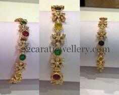Diamonds and Navaratan Stones Bangles | Jewellery Designs