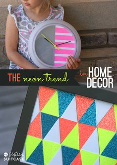 Easy ways to incorporate the NEON trend in your home decor using American Crafts Glitter Products wall decor Home Decor Inspiration, Decor Ideas, Design Inspiration, Diy Ideas, Craft Ideas, Glitter Projects, Living Room Accessories, Diy Wall Art, Wall Decor