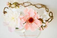 Beautiful floral crown    BRENDA LEE Cream Delphinium/Anemone flower by BoutiquebyBrendaLee, $50.90