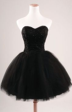 Short Black Tulle Prom Dress, Homecoming Dress
