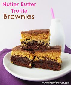 Nutter Butter Truffle Brownies @Dorothy@Crazy for Crust