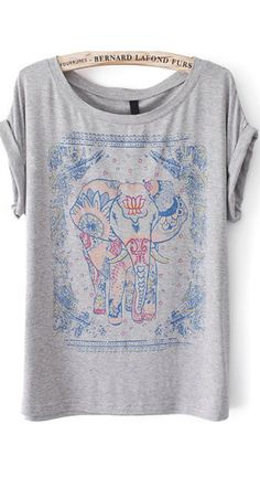 Elephant Print Grey T-Shirt. A super soft cotton tee with generous size for any figures .Elephant print is also that cute&unique!