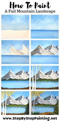 "How To Paint ""Mountain Morning"" Fall Landscape Canvas Painting Tutorials, Easy Canvas Painting, Simple Acrylic Paintings, Diy Canvas Art, Diy Painting, Canvas Painting Landscape, Decorative Paintings, Beginner Painting, Painting Lessons"