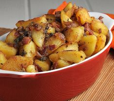 Fried German Potato Salad -  Yukon gold potatoes, thick sliced bacon, canola oil, salt and pepper, red onion, capers, red wine vinegar, dijon mustard, evoo