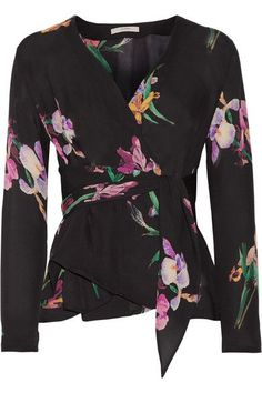 Etro - Floral-print Silk Crepe De Chine Wrap Blouse - Black - IT38